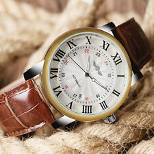 Winner Mechanical Wrist Watch Automatic Analog White Dial Leather Band Men Women