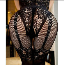 Lingerie Womens Sexy Open Crotch Stockings Crotchless Fishnet Sheer Body Dress