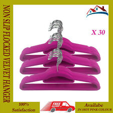 NEW 30 X NON SLIP VELVET HANGER FLOCKED HANGING COAT CLOTH HANGERS HOT PINK