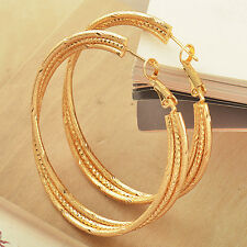 Authentic Yellow Gold Filled Fashion lucky Womens Big round  Ear Hoop Earrings