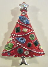 RED ENAMELLED EISENBERG ICE CHRISTMAS TREE BROOCH  PIN BRIGHT RHINESTONES