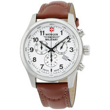 Wenger Swiss Military White Dial Leather Strap Men's Watch 79013