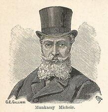 A7188 Michele Munkacsy - Stampa Antica del 1928 - Xilografia