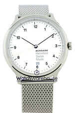 Mondaine MH1.R2210.SM Helvetica No1 Regular White Dial Men Mesh Steel Watch New