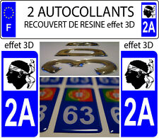 2 stickers plaque immatriculation auto TUNING DOMING RESINE REGION CORSE 2A
