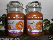 2 Yankee Candle Coconut Caramel Stripes Girl Scout Cookies  22 oz Jars