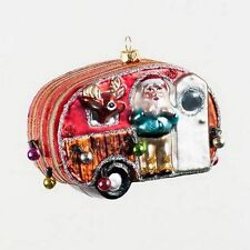 SANTAS AIRSTREAM CAMPER WITH WITH REINDEER MERCURY GLASS CHRISTMAS TREE ORNAMENT