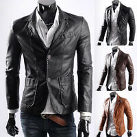 Mens Slim Fit Motorcycle PU Leather Jacket Coat Outwear PUNK Biker Plus SZ Black