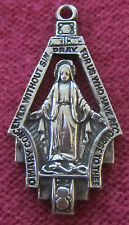 Vintage Catholic Religious Holy Medal - STERLING MARCASITE - MIRACULOUS