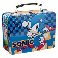 Sonic the Hedgehog Video Game Art Large Embossed Tin Tote Lunchbox, NEW UNUSED