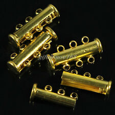 10 Set Gold Plated Copper 3-Strand Magnetic Slide Lock Clasps 21x10x5mm