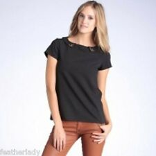 La Redoute smart BLACK studded collar short sleeve blouse top UK 20 EU 48 NEW