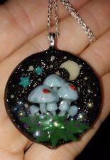 Hand Made Mushroom Pendant, Micro Tiny Ladybugs, Moon, Glow Stars, Chain, Orbs!