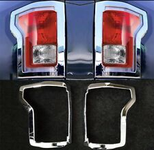 Fit For 2015-2017 Ford F-150 Chrome Rear Truck Tail Light Lamp Cover Frame Trim