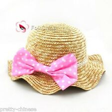 Lovely Girls Kids Summer Straw Sun Hat With Dot Pink Bow Sun Hat Cap