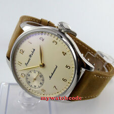 44mm parnis light yellow dial 6497 movement hand winding mens watch396