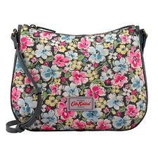 Cath Kidston Orchard Blossom Canvas & Leather Cross Body Bag (Charcoal)