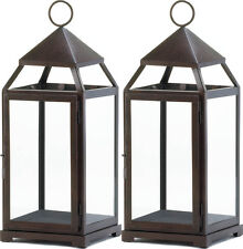 Lot of 2 Large Bronze Finish Contemporary Candle Lanterns NEW