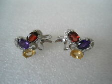 CHARMING MULTI COLOR AMETHYST, GARNET, CITRINE & CZ STERLING 925 SILVER EARRINGS