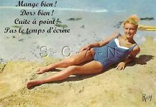 Original 1950s-60s French Semi Nude Pinup PC- Blond- Blue Swimsuit- Legs- Beach