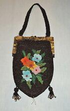 Beautiful  Large 1920-30's Colorful  Beaded  Purse Marbleized Frame