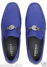 NEW VERSACE BLUE LEATHER DRIVER LOAFER SHOES w/ MEDUSA MEDALLION 42.5 - 9.5