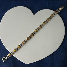 """Nice 925 Silver Bracelet With Yellow Topaz 15.6 Gr. 7"""" Inches Long In Gift Box"""