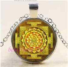 Gold Sri Yantra Photo Cabochon Glass Tibet Silver Chain Pendant Necklace
