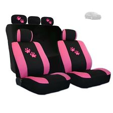 New 2 Tone Front and Rear Seat Covers with Pink Paws Logo Set For Kia
