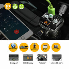 Bluetooth kit voiture sans fil transmetteur fm double chargeur usb audio MP3 player mic