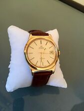 OMEGA 1980's VINTAGE MENS GENEVE GOLD WATCH BROWN LEATHER STRAP CAL.1012 DATE