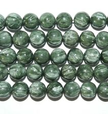 GR1596c Silvery-Green Seraphinite 12mm Round Polished Gemstone Beads 6-Beads