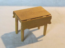 Vintage miniature dollhouse 1:12 scale wooden drop leaf table, artist signed