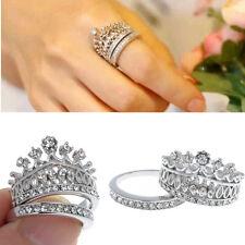 Mujer Anillos Corona De Plata Diamante Boda Ring Joyería Compromiso