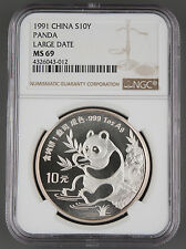 China 1991 1 Oz 999 Silver Panda 10 Yuan Coin NGC MS69 GEM BU+ Large Date LD
