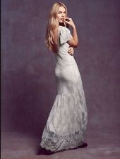 Free People Gray Sophia Lace Gown Wedding Maxi Dress Medium Retails $500.00