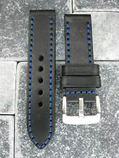 24mm NEW COW LEATHER STRAP Watch BAND PAM Black Blue Stitch