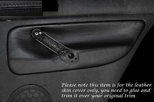 BLACK LEATHER 2X REAR DOOR CARD SKIN COVERS FITS VW GOLF 4 MK4 JETTA 98-05 5DR