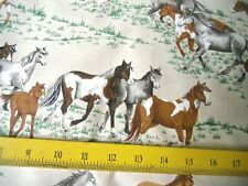 VIP Fabrics Horses Black Brown Grey White on Grass Tan Bckgrnd 4 Pillows Quilts