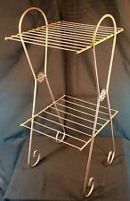 Vtg Metal 3 Tier Plant Stand Display Rack Brown Wire Mid Century Modern