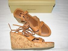 8.5 M Enzo Angiolini Brown Leather Natural Tan Wedge Platform Heels Gladiator B
