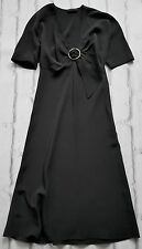 Future Vintage: Prada 1996 Black Buckle Trim Silk Crepe De Chine Dress IT42/UK10