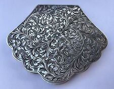 Vintage European Silver 800 Floral Scroll Engraved Shell Compact Purse Mirror