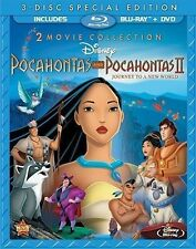 Pocahontas and Pocahontas II [Blu-ray + DVD, 2 Movies, Region A, 3-Disc] NEW