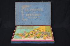 Ancien Jeu puzzle bois La FRANCE par départements patience géographie 51*42 XIX