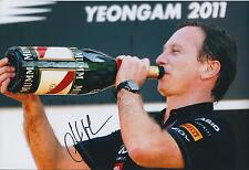 Christian Horner SIGNED Red Bull Victory Drink AUTOGRAPH 12x8 Photo AFTAL COA