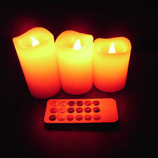 Remote Control 3pcs 12 Colours Changing LED Lavender Flameless Wax Candles light