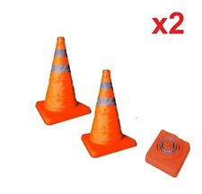 2x Collapsible Cone Pull out Safety Emergency Accident Pop up Traffic Road Cones