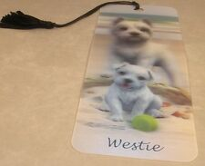 New 3D Lenticular Bookmark -Westie - with Tassle - Image Pops Right Out
