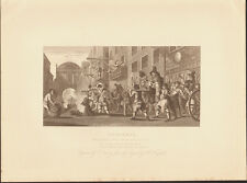 WILLIAM HOGARTH steel engraving 1880 - HUDIBRAS BURNING OF THE RUMPS TEMPLE BAR